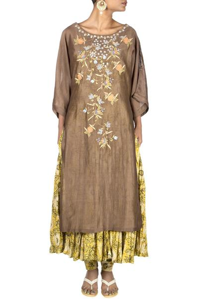 Suits, Clothing, Carma, Silk Chanderi 3/4Th Sleeve Kurta with Thread and Sequince Embroidery ,  ,