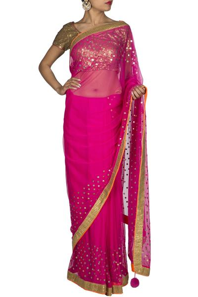 Sarees, Sarees, Clothing, Carma, Pink Net Saree ,  , Evening, Festive , Mehendi , Ethnic , Net , India , Dry Clean only ,
