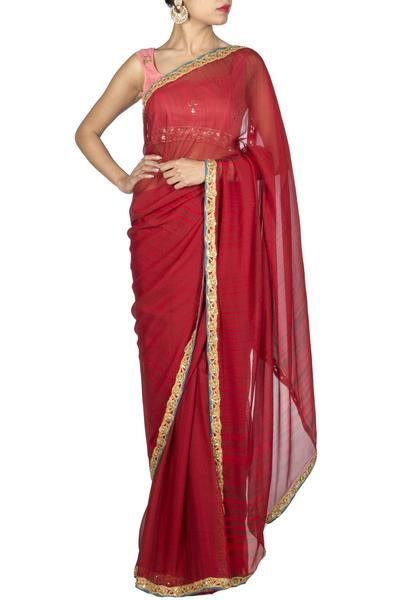 Sarees, Sarees, Clothing, Carma, Red Saree with Golden Border ,  , Evening, Festive , Mehendi , Ethnic , Chiffon , India , Dry Clean only ,
