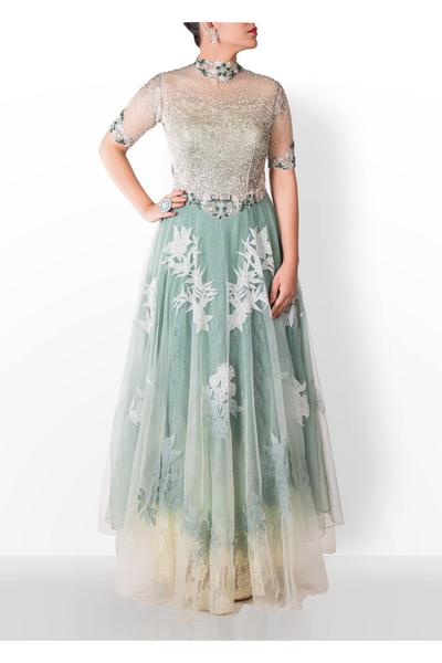 Gowns, Clothing, Carma, Alexandria ,  , Enchanted Victorian Garden , Evening , Engagemnt, Reception , Contemprary , Tulle, lace, chiffon , India , Dryclean Only ,