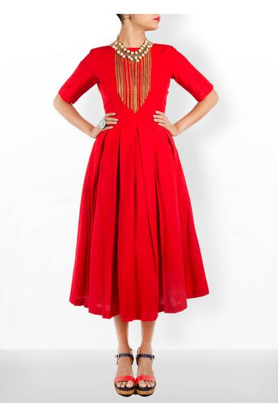 Dresses, Clothing, Carma, Red box pleated midi dress ,  , Cocktail , Cotton silk , India , Dry clean Only ,