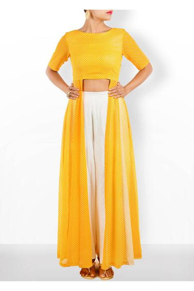 Dresses, Clothing, Carma, Yellow Polka Dot Cape set ,  , Mehendi  , Georgette , cotton silk culottes , India , Dry clean Only ,
