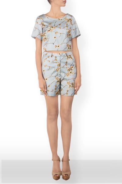 Dresses, Clothing, Carma, Floral Printed Crop Top and Shorts Set ,  , Resort SS'15 , Resort Wear , Contemporary , Shell - Cotton Satin, Lining - Viscose , India ,  Dry Clean only ,
