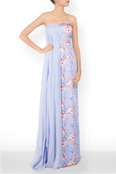 Dresses, Clothing, Carma, Floral Fan Maxi ,  , Resort SS'16 , Resort Wear , Contemporary , Shell - Cotton Satin and Georgette, Lining - Viscose , India ,  Dry Clean only ,