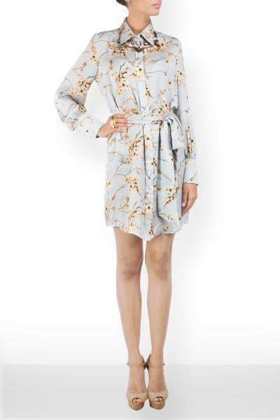 Dresses, Clothing, Carma, Floral Printed Shirt Dress with an Obi ,  , Resort SS'26 , Resort Wear , Contemporary , Shell - Cotton Satin, Lining - Viscose , India ,  Dry Clean only ,