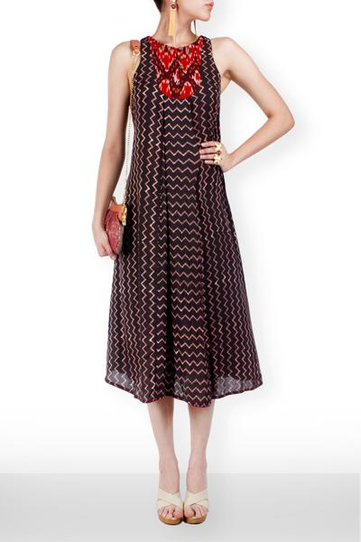 Dresses, Clothing, Carma, Chevron block printed evening dress. ,  , Evening , Casual , Modal , India , Dry clean only ,