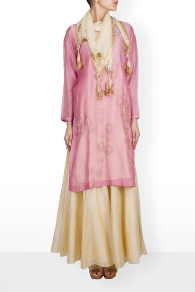Suits, Clothing, Carma, Peach Shadoo Emb Flower Kurta with beige Skirt & Stole ,  ,