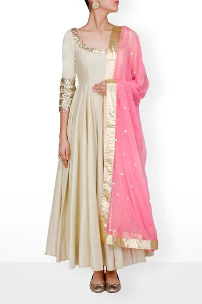 Suits, Clothing, Carma, Beige anarkali with pink dupatta ,  ,