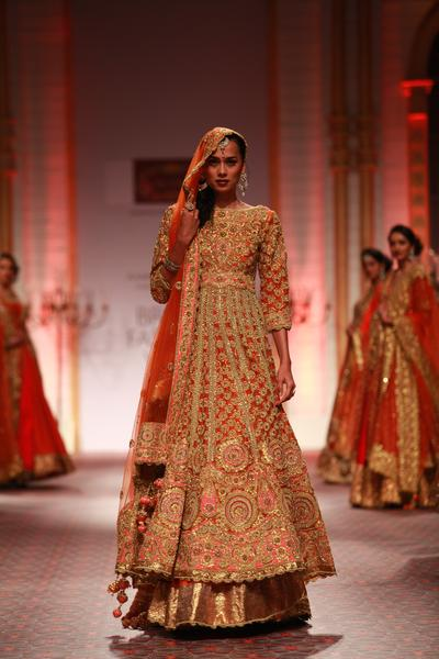 Suits, Clothing, Carma, Orange gota and kundan appliqued high-low anarkali lehenga ,  ,