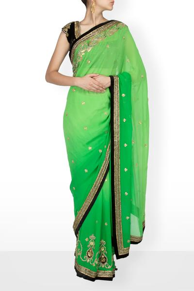 Sarees, Sarees, Clothing, Carma, Shaded green and black applique work saree ,  , Evening , Engagement, Sangeet, Mehendi, Reception , Blouse- Velvet, Sari-Georgette , Indian , Dry Clean only ,