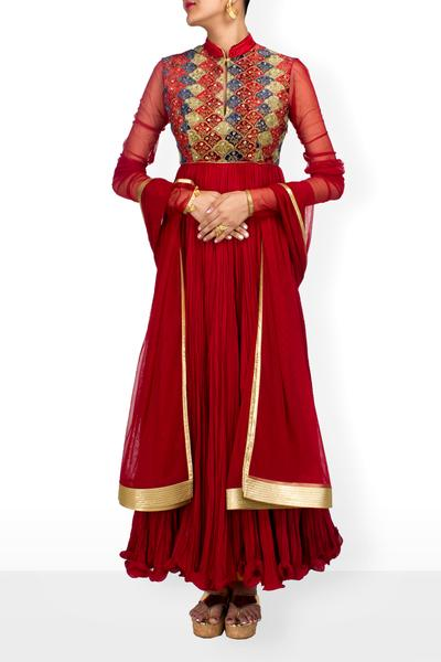 Suits, Clothing, Carma, Bindi red anarkali set ,  ,