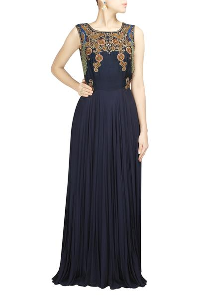 Gowns, Clothing, Carma, Navy blue peacock gown ,  , Cocktail, Sangeet , Contemporary, fusion , Dupion silk & georgette , India , Dry clean only ,