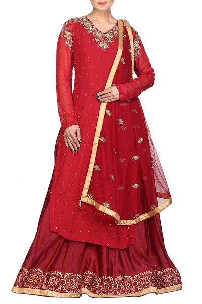 Suits, Clothing, Carma, Red embroidered kurta set ,  ,  ,