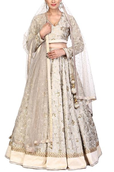 Lehengas, Clothing, Carma, Champagne grey embroidered lehenga set ,  ,  ,
