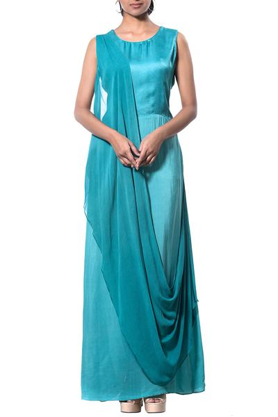 Dresses, Clothing, Carma, Teal blue draped maxi dress ,  ,  ,