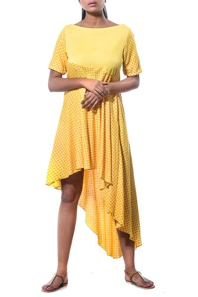 Dresses, Clothing, Carma, Yellow polka dot asymmetric tunic dress ,  ,  ,