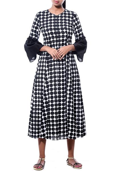 Dresses, Clothing, Carma, Monochrome polka dot tunic dress ,  ,  ,