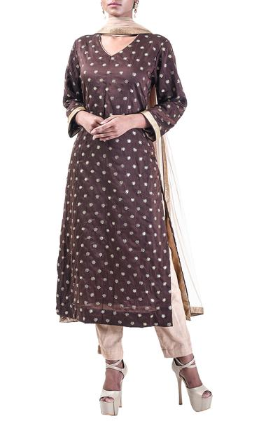 Suits, Clothing, Carma, Chocolate brown embroidered kurta set