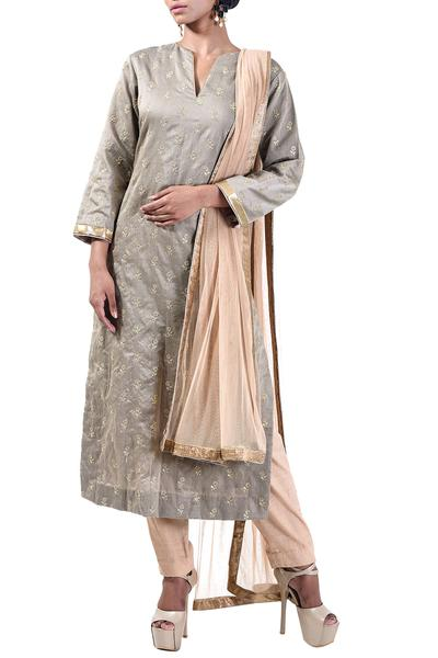 Suits, Clothing, Carma, Fossil grey embroidered kurta set