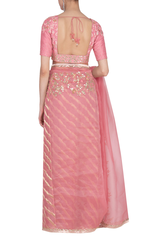 3fe6d31241 Pink lehriya saree with blouse by Devnaagri | Carmaonline shop