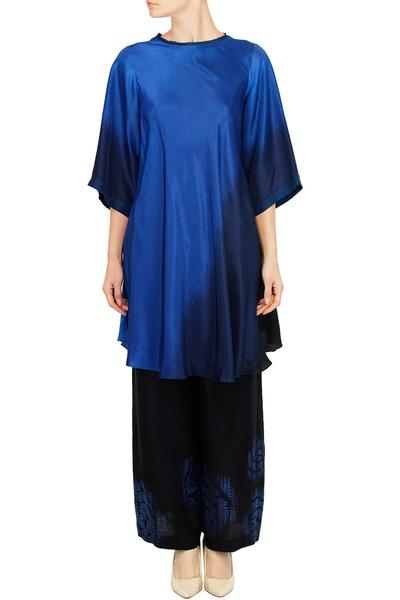Suits, Clothing, Carma, Sea blue and indigo ombre silk kurta with matching pallazo pants ,