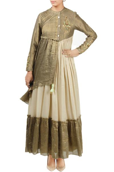 Dresses, Clothing, Carma, Dull gold and beige embroidered maxi dress ,  ,  ,
