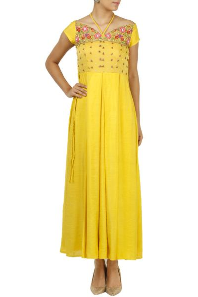 Gowns, Clothing, Carma, Mustard yellow aari embroidered gown ,  ,  ,