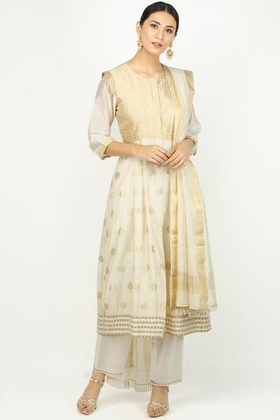 Suits, Clothing, Carma, Ivory and gold check bodice pearl work kurta set ,