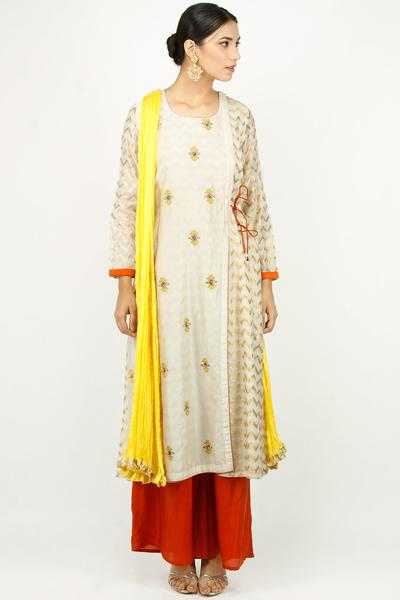 Suits, Clothing, Carma, Off-white and gold embroidered overlay chevron handwoven kurta set ,