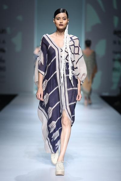 Dresses, Clothing, Carma, Ivory and blue batik print kaftan dress ,  ,  ,