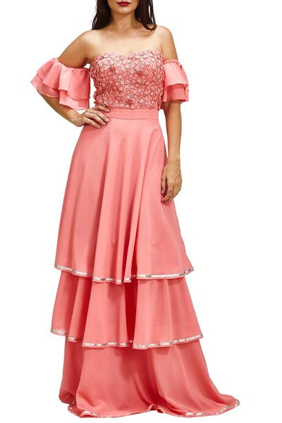 Gowns, Clothing, Carma, Pink off shoulder layered gown ,  ,  ,