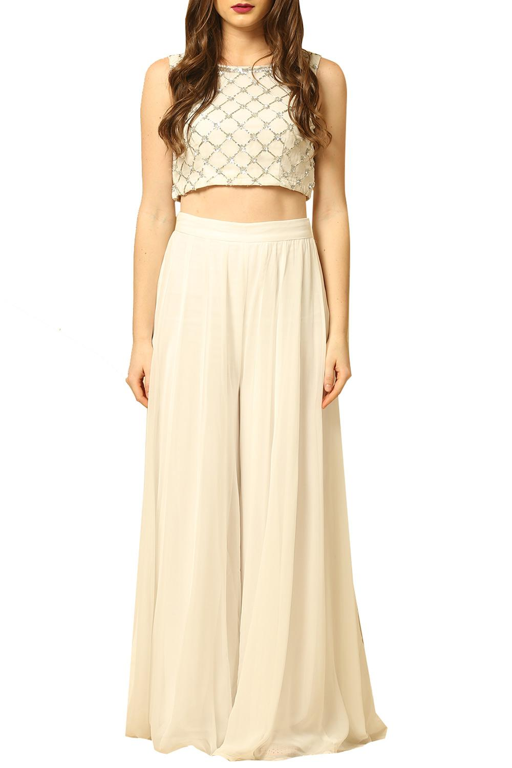5366298dfb Kurtas and Sets, Clothing, Carma, White crop top with palazzo , , ,
