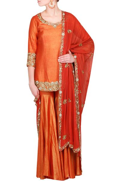 Suits, Clothing, Carma, Rust  shimmer georgette garara and kurta n georgette dupatta ,  ,