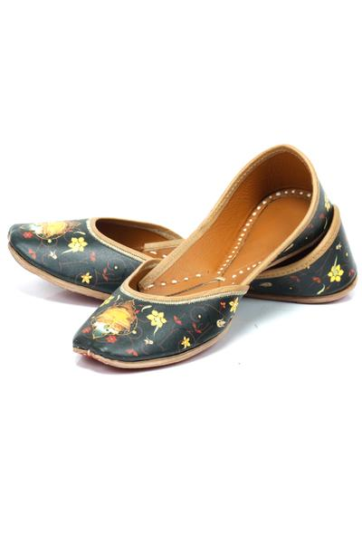 Jutti, Footwear, Accessories, Carma, Black mughal and floral print juttis ,  ,