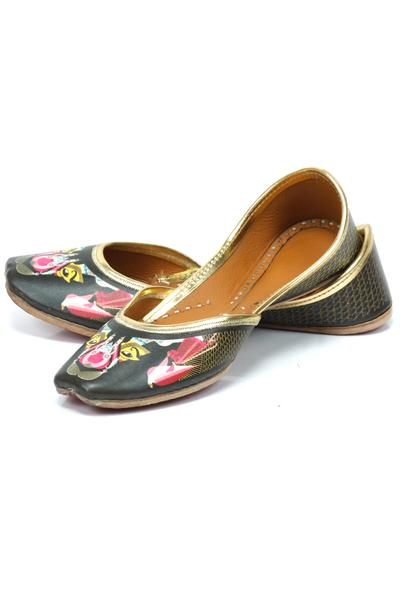 Jutti, Footwear, Accessories, Carma, Black mughal and bird print juttis ,  ,