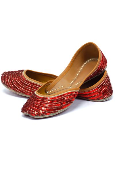 Jutti, Footwear, Accessories, Carma, Red sequined juttis ,  ,