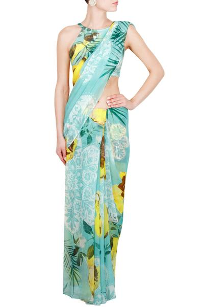 Sarees, Sarees, Clothing, Carma, Light Blue And Yellow Leaves And Flowers Printed Saree ,  , Mehendi, Cocktail , Georgette , Dry clean  only