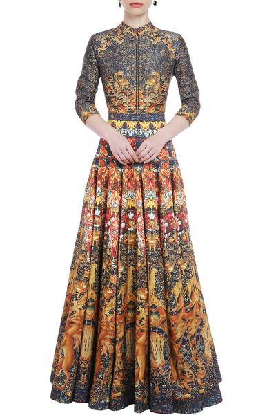 Gowns, Clothing, Carma, Multicolor Digital Print Gown ,  ,