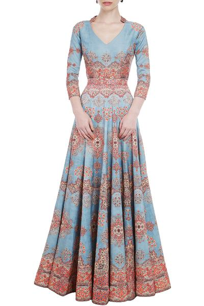 Gowns, Clothing, Carma, Powder Blue And Red Printed Gown ,  ,