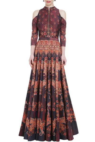 Gowns, Clothing, Carma, Wine Cold Shoulder Printed Gown ,  ,