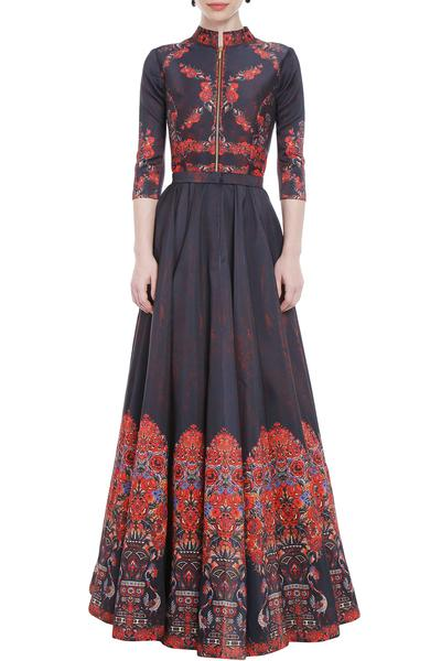 Gowns, Clothing, Carma, Black And Red Printed Gown ,  ,