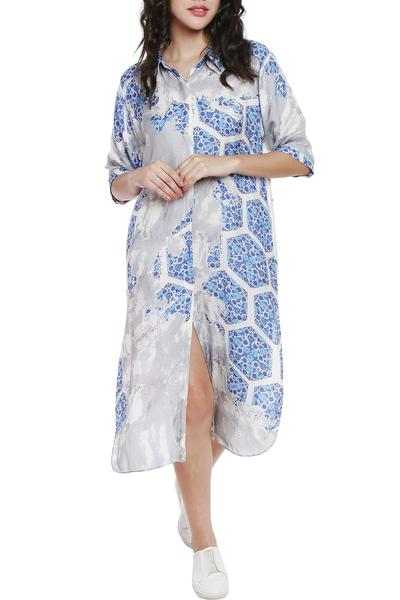 Dresses, Clothing, Carma, Ivory Printed Shirt Dress ,  ,