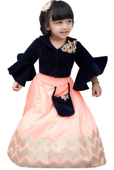 Girls, Kids, Carma, Dark Blue Velvet Top with Lehenga