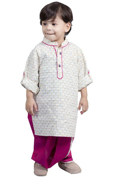 Boys, Kids, Carma, Off white Printed Kurta with Dhoti