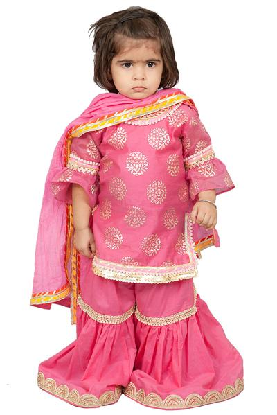 Girls, Kids, Carma, Pink foil print kurta set