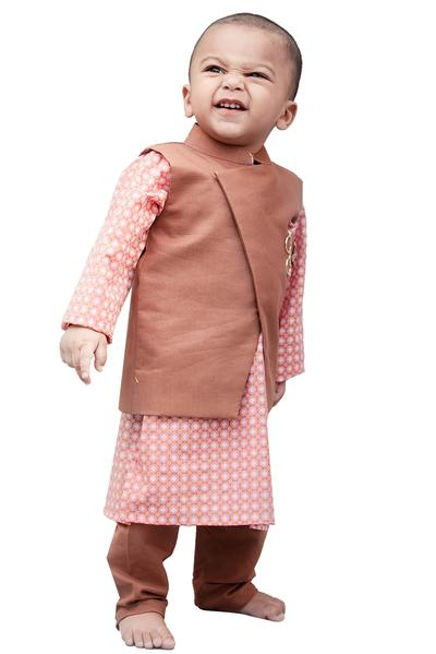 Boys, Kids, Carma, Brown Nehru Jacket with Printed Kurta and Churidar