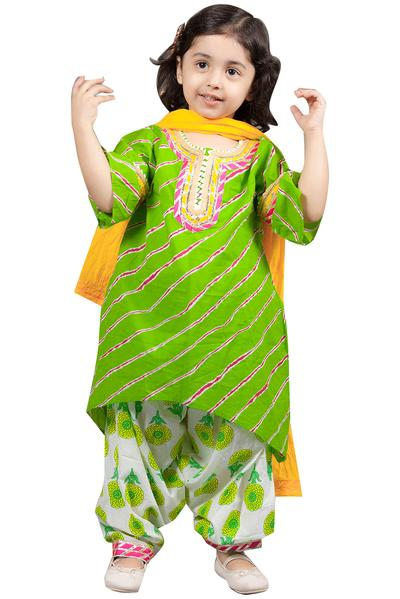 Girls, Kids, Carma, Green Lehariya Kurta set