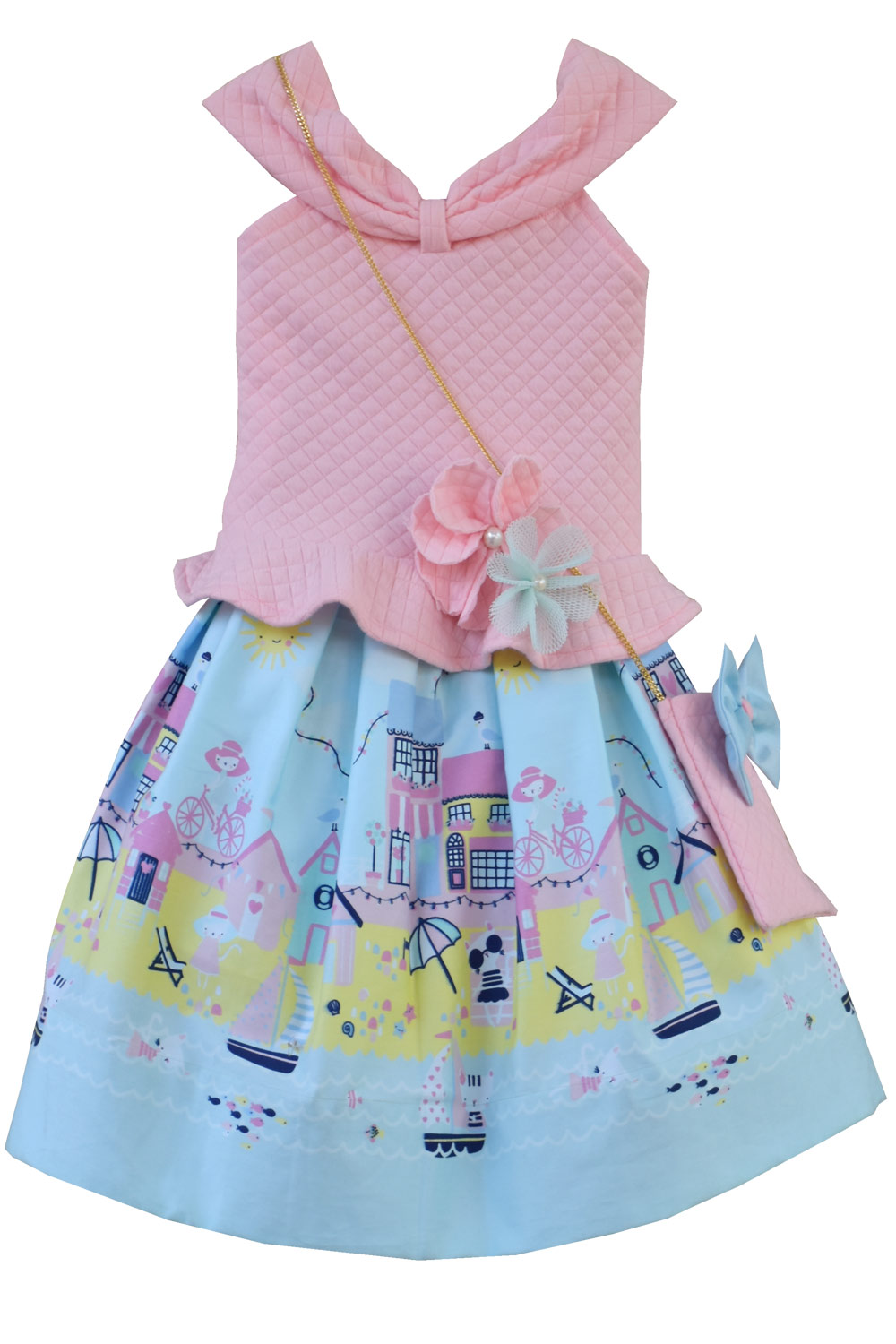 699ceddb77f Powder pink quilted top with printed skirt. Label : Carma. Label : Fayon  Kids