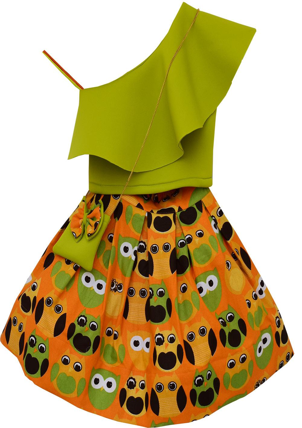 38a6b09eeaec23 Green crop top and printed skirt by Fayon Kids