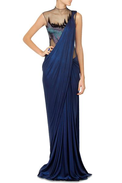 Sarees, Sarees, Clothing, Carma, Electric blue bugel beads work sheer bodice shimmer saree gown ,  ,